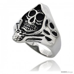 Surgical Steel Biker Skull Ring Grim Reaper Head 15/16 in long