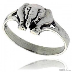Sterling Silver Polished Elephant Ring 3/8 wide