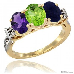 10K Yellow Gold Natural Amethyst, Peridot & Lapis Ring 3-Stone Oval 7x5 mm Diamond Accent