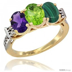 10K Yellow Gold Natural Amethyst, Peridot & Malachite Ring 3-Stone Oval 7x5 mm Diamond Accent