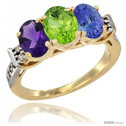 10K Yellow Gold Natural Amethyst, Peridot & Tanzanite Ring 3-Stone Oval 7x5 mm Diamond Accent