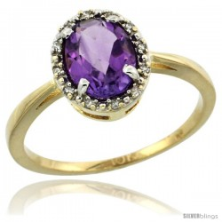 10k Yellow Gold Diamond Halo Amethyst Ring 1.2 ct Oval Stone 8x6 mm, 1/2 in wide
