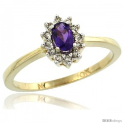 10k Yellow Gold Diamond Halo Amethyst Ring 0.25 ct Oval Stone 5x3 mm, 5/16 in wide