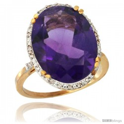 10k Yellow Gold Diamond Halo Large Amethyst Ring 10.3 ct Oval Stone 18x13 mm, 3/4 in wide