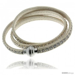 Surgical Steel Italian Leather Wrap Massai Bracelet Swarovski Crystal inlay w/ Super Magnet Clasp, Color White.