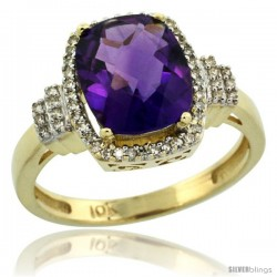 10k Yellow Gold Diamond Halo Amethyst Ring 2.4 ct Cushion Cut 9x7 mm, 1/2 in wide