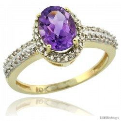 10k Yellow Gold Diamond Halo Amethyst Ring 1.2 ct Oval Stone 8x6 mm, 3/8 in wide