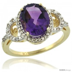 10k Yellow Gold Diamond Halo Amethyst Ring 2.4 ct Oval Stone 10x8 mm, 1/2 in wide -Style Cy901120