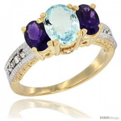 10K Yellow Gold Ladies Oval Natural Aquamariine 3-Stone Ring with Amethyst Sides Diamond Accent