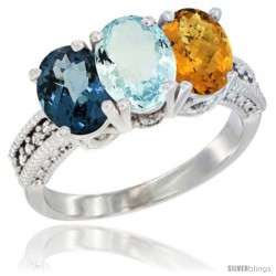 14K White Gold Natural London Blue Topaz, Aquamarine & Whisky Quartz Ring 3-Stone 7x5 mm Oval Diamond Accent