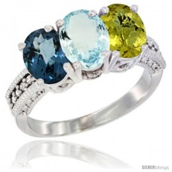 14K White Gold Natural London Blue Topaz, Aquamarine & Lemon Quartz Ring 3-Stone 7x5 mm Oval Diamond Accent