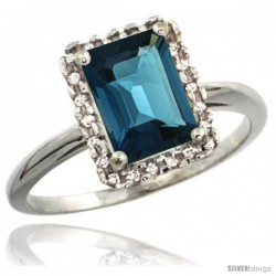 14k White Gold Diamond London Blue Topaz Ring 1.6 ct Emerald Shape 8x6 mm, 1/2 in wide