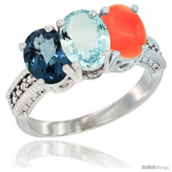 14K White Gold Natural London Blue Topaz, Aquamarine & Coral Ring 3-Stone 7x5 mm Oval Diamond Accent