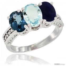 14K White Gold Natural London Blue Topaz, Aquamarine & Lapis Ring 3-Stone 7x5 mm Oval Diamond Accent