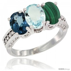 14K White Gold Natural London Blue Topaz, Aquamarine & Malachite Ring 3-Stone 7x5 mm Oval Diamond Accent