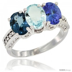 14K White Gold Natural London Blue Topaz, Aquamarine & Tanzanite Ring 3-Stone 7x5 mm Oval Diamond Accent