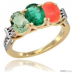 10K Yellow Gold Natural Green Amethyst, Emerald & Coral Ring 3-Stone Oval 7x5 mm Diamond Accent