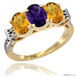 10K Yellow Gold Natural Amethyst & Whisky Quartz Sides Ring 3-Stone Oval 7x5 mm Diamond Accent