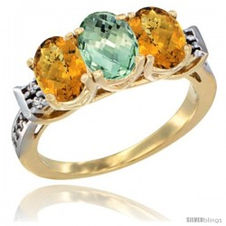 10K Yellow Gold Natural Green Amethyst & Whisky Quartz Sides Ring 3-Stone Oval 7x5 mm Diamond Accent