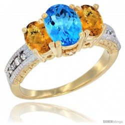 10K Yellow Gold Ladies Oval Natural Swiss Blue Topaz 3-Stone Ring with Whisky Quartz Sides Diamond Accent