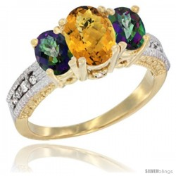 14k Yellow Gold Ladies Oval Natural Whisky Quartz 3-Stone Ring with Mystic Topaz Sides Diamond Accent
