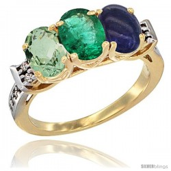 10K Yellow Gold Natural Green Amethyst, Emerald & Lapis Ring 3-Stone Oval 7x5 mm Diamond Accent
