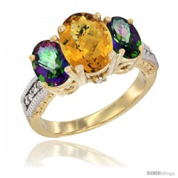14K Yellow Gold Ladies 3-Stone Oval Natural Whisky Quartz Ring with Mystic Topaz Sides Diamond Accent