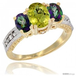 14k Yellow Gold Ladies Oval Natural Lemon Quartz 3-Stone Ring with Mystic Topaz Sides Diamond Accent