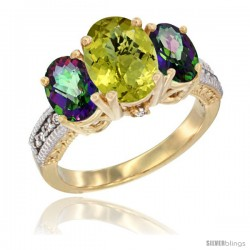 14K Yellow Gold Ladies 3-Stone Oval Natural Lemon Quartz Ring with Mystic Topaz Sides Diamond Accent