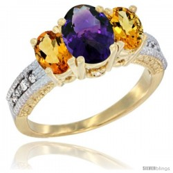 14k Yellow Gold Ladies Oval Natural Amethyst 3-Stone Ring with Citrine Sides Diamond Accent
