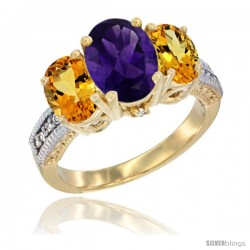 14K Yellow Gold Ladies 3-Stone Oval Natural Amethyst Ring with Citrine Sides Diamond Accent