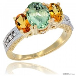14k Yellow Gold Ladies Oval Natural Green Amethyst 3-Stone Ring with Citrine Sides Diamond Accent