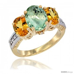 14K Yellow Gold Ladies 3-Stone Oval Natural Green Amethyst Ring with Citrine Sides Diamond Accent