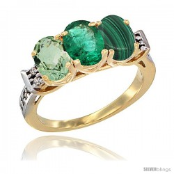10K Yellow Gold Natural Green Amethyst, Emerald & Malachite Ring 3-Stone Oval 7x5 mm Diamond Accent