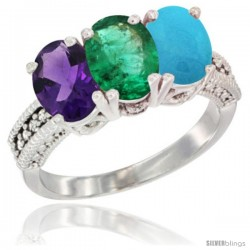 10K White Gold Natural Amethyst, Emerald & Turquoise Ring 3-Stone Oval 7x5 mm Diamond Accent