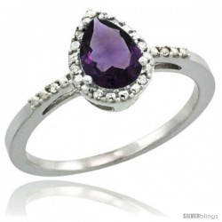 10k White Gold Diamond Amethyst Ring 0.59 ct Tear Drop 7x5 Stone 3/8 in wide