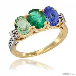 10K Yellow Gold Natural Green Amethyst, Emerald & Tanzanite Ring 3-Stone Oval 7x5 mm Diamond Accent