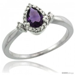 10k White Gold Diamond Amethyst Ring 0.33 ct Tear Drop 6x4 Stone 3/8 in wide
