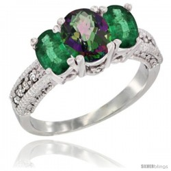 14k White Gold Ladies Oval Natural Mystic Topaz 3-Stone Ring with Emerald Sides Diamond Accent