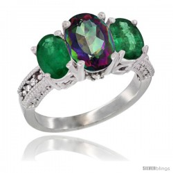 14K White Gold Ladies 3-Stone Oval Natural Mystic Topaz Ring with Emerald Sides Diamond Accent