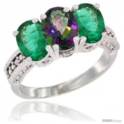 14K White Gold Natural Mystic Topaz & Emerald Sides Ring 3-Stone 7x5 mm Oval Diamond Accent