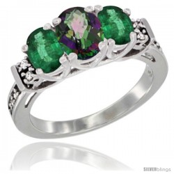 14K White Gold Natural Mystic Topaz & Emerald Ring 3-Stone Oval with Diamond Accent