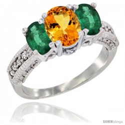 14k White Gold Ladies Oval Natural Citrine 3-Stone Ring with Emerald Sides Diamond Accent