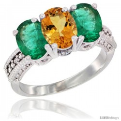14K White Gold Natural Citrine & Emerald Sides Ring 3-Stone 7x5 mm Oval Diamond Accent