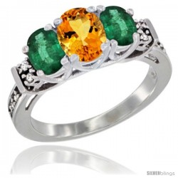 14K White Gold Natural Citrine & Emerald Ring 3-Stone Oval with Diamond Accent