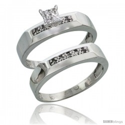 10k White Gold Diamond Engagement Rings Set 2-Piece 0.10 cttw Brilliant Cut, 3/16 in wide -Style Ljw009e2