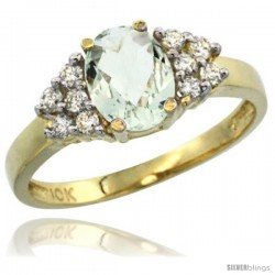 10k Yellow Gold Ladies Natural Green Amethyst Ring oval 8x6 Stone