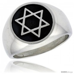 Sterling Silver Star of David Ring Antiqued finish Handmade 3/4 in wide