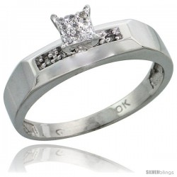 10k White Gold Diamond Engagement Ring 0.07 cttw Brilliant Cut, 3/16 in wide -Style Ljw009er