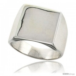 Sterling Silver Large Square Signet Ring Solid Back Handmade 3/4 in